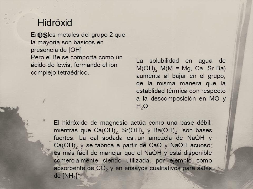 Hidróxidos Entre los metales del grupo 2 que la mayoria son basicos en presencia de [OH]-